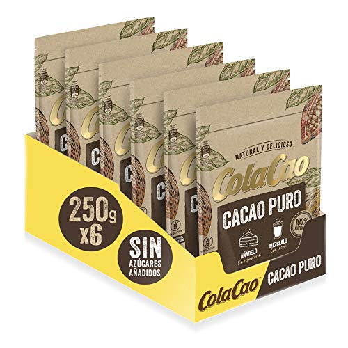 Cola Cao Puro: 100% Cacao Natural y sin Aditivos - 6 Envases de 250g (1.500 g)