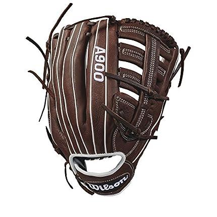 """Wilson Guante de béisbol, Lanzamiento de mano derecha, Tamaño 12.5"""", A900, Marrón/Blanco, WTA09RB18125"""