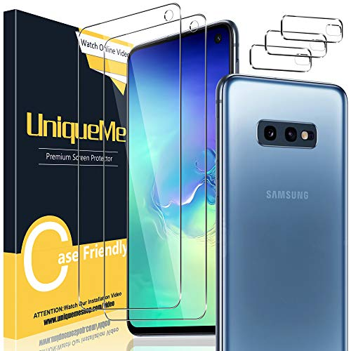 [2+3 Stück] Uniqueme Schutzfolie für Samsung Galaxy S10e Panzerglas mit Installationswerkzeug + Samsung Galaxy S10e Kamera Panzerglas Displayschutzfolie.