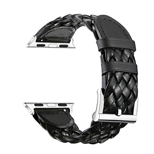 Kartice for Apple Watch Band PU Leather Watch Band Strap Bracelet Replacement Wrist Band With Adapter Clasp for iWatch Apple Watch & Braided Sport Strap & Edition--Single Tour Braided Strap Black 38mm