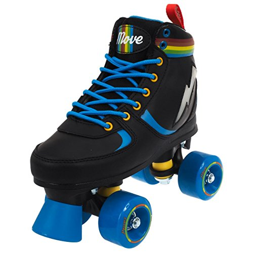 POWER MOVE Rainbow – Patines de Ruedas Niño, ROMVRAILI-050NB, negro/azul, 39-40