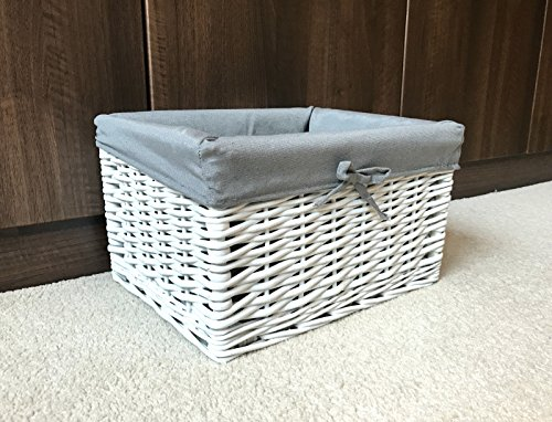 Home Delights NEW White Grey Wicker Storage Basket Box Gift Hamper Bathroom Bedroom Lined