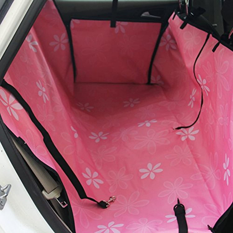 OWIKAR Waterproof Dog Car Seat Cover Backseat Adjustable Pet Dog Cat Hammock Blanket Mat for Cars and SUV (Pink Flower)