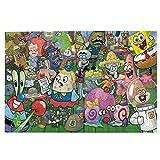 Poyxiya Puzle con fotos de Bob Esponja, 1000 piezas, juguete educativo, divertido puzzle hecho a mano para padres e hijos.
