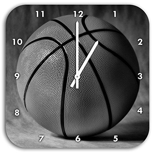 Monocrome, fond noir de basket-ball, le diamètre de l'horloge murale 28cm avec le noir a les mains et le visage, des objets de décoration, Designuhr, composite aluminium très agréable pour salon, bureau