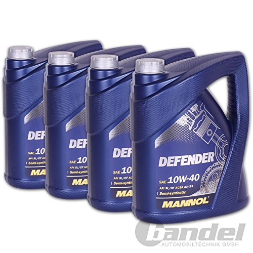 4 x 5 L MANNOL 10W40 Defender Motoröl 20 L