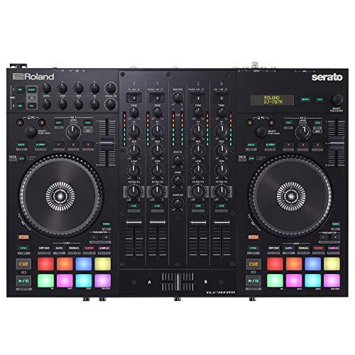 Controlador híbrido DJ Roland DJ-707M y consola de audio con sonido...