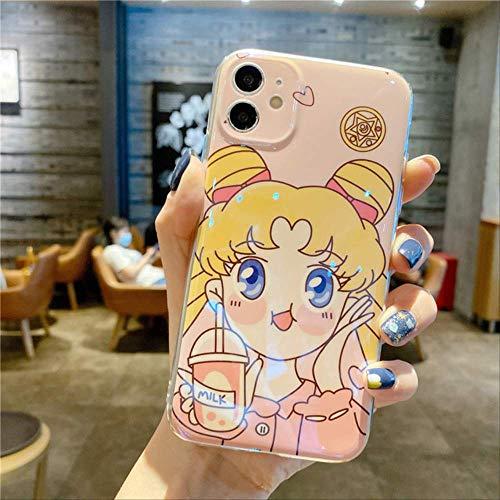 Carcasas de teléfono de Dibujos Animados Lindo Sailor Moon para iPhone 12 12Mini 11 Pro XS MAX SE X XR 7 8 Plus Carcasa Trasera Divertida de Anime Glossy Blue Ray para iPhone XS B