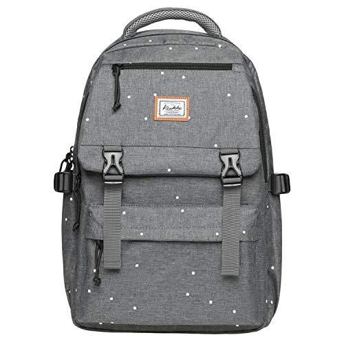 KAUKKO Rucksack mit Laptop Fach 14 Zoll, 31 * 12 * 46 cm, 17.1 L (JNL-KS23-grey Point)