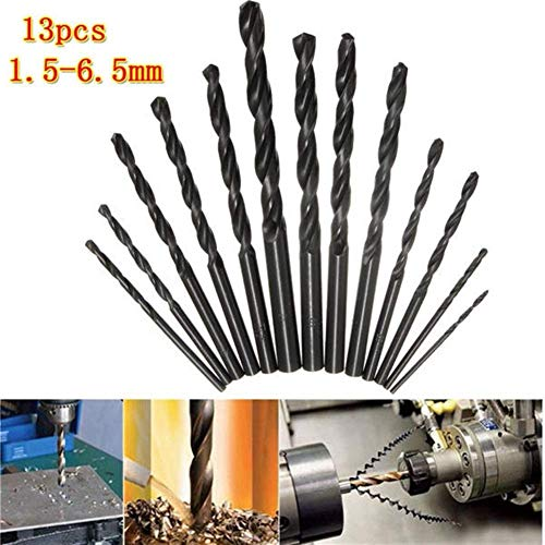 ZYL-YL Drill 1.5-6.5mm HSS Twist Drill Bit Straight Shank High Speed Steel Twist Drill Bit Set 13pcs Drill Accessories