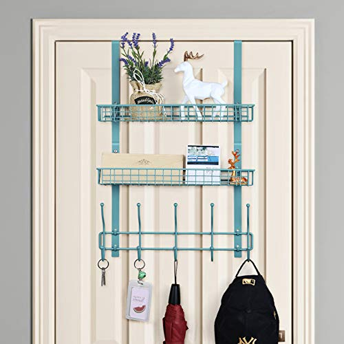 Over The Door Organizer Hanging Storage Shelf with 2 Baskets & 5 Hooks Spice Rack for Kitchen Closet Bathroom Bedroom Pantry