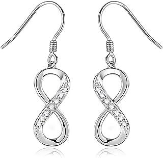 Pendientes de plata 925 con forma de número, para niñas, temperamento excepcional, pendientes de aro para mujer, seguros y...