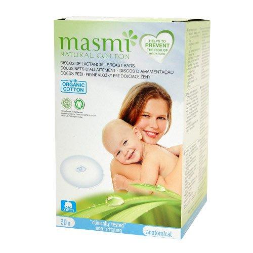 Masmi オーガニックコットン100% 母乳パッド×30枚入:10cm【使い捨て/低アレルギー性/無着色・無香料/塩素系漂白剤不使用】