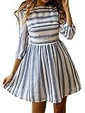 ECOWISH Damen Kleider A Linie Gestreift Sommerkleid 3/4 Ärmel Rundhals Plissee Kleid Casual Mini Strandkleid Navy Blau XL