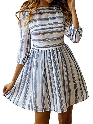ECOWISH Damen Kleider A-Linie Gestreift Sommerkleid 3/4 Ärmel Rundhals Plissee Kleid Casual Mini Strandkleid Navy Blau XL