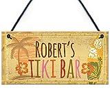 RED OCEAN PERSONALISED Tiki Bar Sign Vintage Bar Pub Man Cave Garden Plaque Friendship Gift