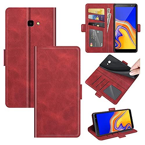 AKC Funda Compatible para Samsung Galaxy J4 Plus/J415F Carcasa Caja Case con Flip Folio Funda Cuero Premium Cover Libro Cartera Magnético Caso Tarjetero y Suporte-Rojo