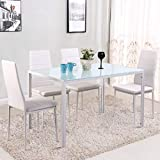 Warmiehomy Dining Table Chairs, Stunning Glass Dining Table Set Kitchen Table and 4 Faux Leather Chairs White