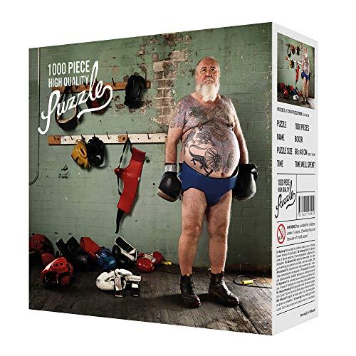 Monsterzeug Schwieriges Puzzle aus 1000 Teile für Erwachsene, Anspruchsvolles und ausgefallenes Sport Motiv, Alter Boxer, 68 x 48 cm