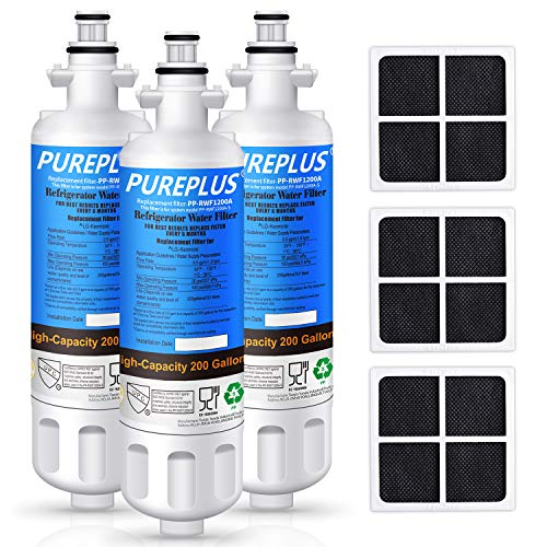 PUREPLUS 469690 LT700P Filter Replacement for LG Kenmore Elite 9690, ADQ36006102, ADQ36006101, LFXS30766S, LFX28968ST, LFX31925ST, LFX31945ST, RWF1052, LT120F, Refrigerator Water and Air Filter, 3Pack