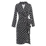 JOTHIN Mujeres 50s Retro Manga Larga Vestidos de Fiesta V-Cuello Lunares Vestido Ajustado Vestidos de Trabajo (L, Negro)