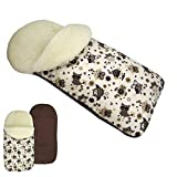 Rawstyle Saco de invierno universal de lana de cordero (búhos, artículo 13) para portabebés, por ejemplo: Maxi-Cosi, Römer, etc. *10 colores*saco de invierno de lana nuevo