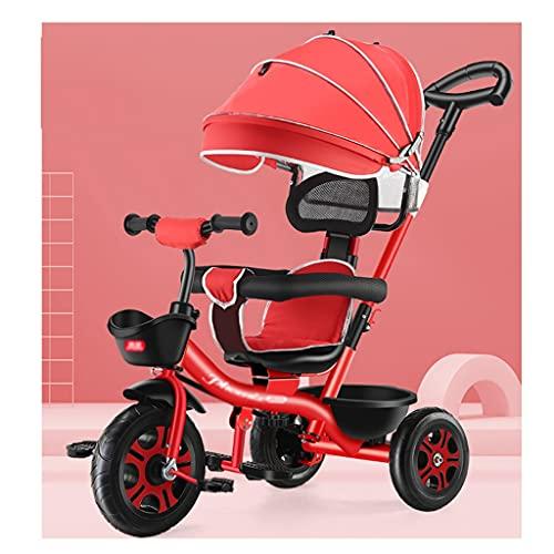 Sillas de paseo Cochecito, para niños Triciclo, menores de 6 años Luz Bicicleta Bizcocho Bizcocho Cochecitos de automóviles de almacenamiento adicional Coche infantil cochecito ( Color : Rhine red )