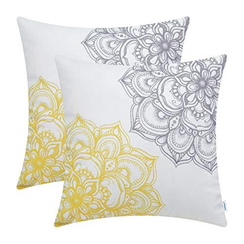 CaliTime Cushion Covers Pack de 2 45cm x 45cm Gris Amarillo Acogedor Fleece Vintage Dahlia Floral Ambos Lados Throw Pillow Fundas