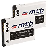 2X Baterías D-Li88 para Pentax Optio H90, P70, P80, W90, WS80