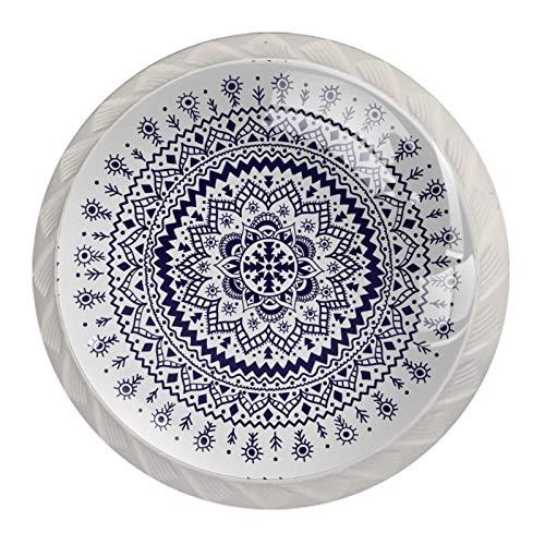 Manopole per cassetti Cassetto per cassetti Maniglia Maniglia in cristallo Rotondo 4 pezzi Comò fai-da-te Armadio Libreria Manopola per armadio con viti per Home Office Ornamento floreale indiano