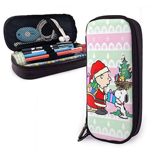Etryrt A Charlie Brown and Snoopy Christmas Pencil Case Big Capacity Double Zippe Pen Holder for Office School Supplies Cosmetics Documents Daily Essentials