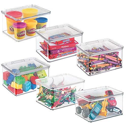 mDesign set da 3 contenitore portagiochi – Organizer portagiochi con coperchio ideale per le camerette per bambini – Colore: trasparente