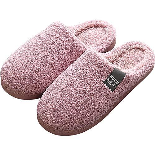 B/H Zapatos de casa de Piel sintética de Micro Gamuza,Pantofole calde da casa da Donna, pantofole in Cotone Felpato antiscivolo con Suola spessa-Rosa_44-45,Cerrada Pelusa Invierno