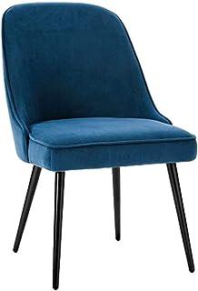 Amrai-Sillas de Comedor Azules - Asiento Cuadrado tapizado de Terciopelo con Respaldo para Silla de salón, sillas de Cocina Modernas sin Brazos, Patas de Metal, tamaño: 55x55x89cm