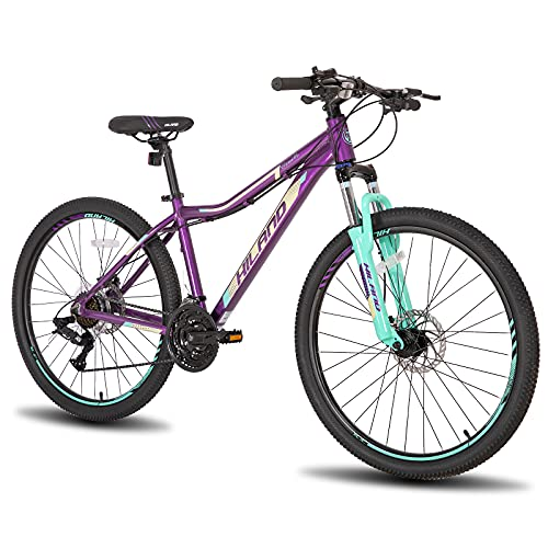 Hiland Aluminum Mountain Bike,with Lock-Out Suspension Fork, 24 Speeds, 26/27.5 Inch for Woman Adult Womens Bike