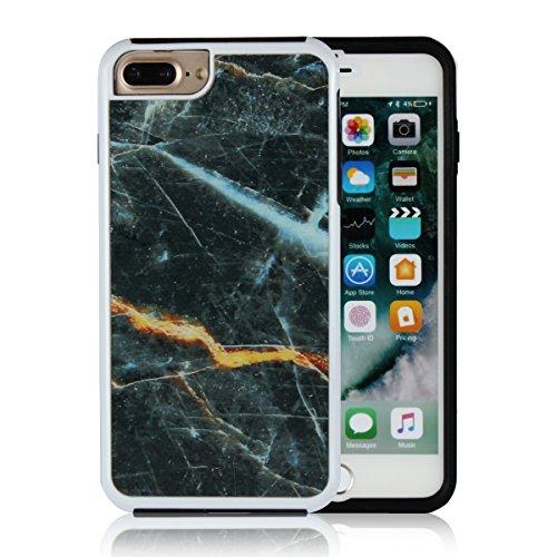 Copmob iPhone 7 Plus/8 Plus Hülle,[Anti-Fall] [Kratzfest][Marmor Muster], Premium Ultraleicht Hülle für iPhone 7 Plus/iPhone 8 Plus - Schwarz