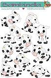 Bambinella Stickerparade – Motiv: Kuh - 10 Sticker aus PVC-Folie nur für glatte Oberflächen auf einer Fläche von 10cm x 15cm. In Schnitt sind die Motive ca. 4cm groß. Hergestellt in...