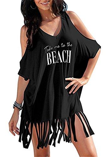 AiJump Damen Baumwolle Sommer Strandkleid Tunika Strandponcho Lose Casual Bikini Cover Up Beachwear Bluse Strand, One size