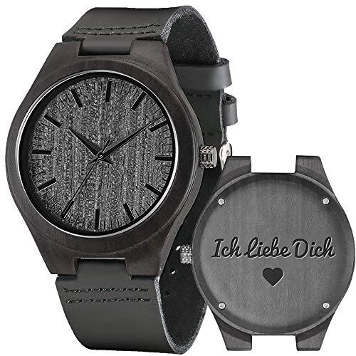 Shifenmei Herren Uhr Quarz Analog Gravur Holzuhr mit Leder Armband Personalisiertes Geschenk für Geburtstag inkl. Geschenkbox S5520 (A-Love-2)