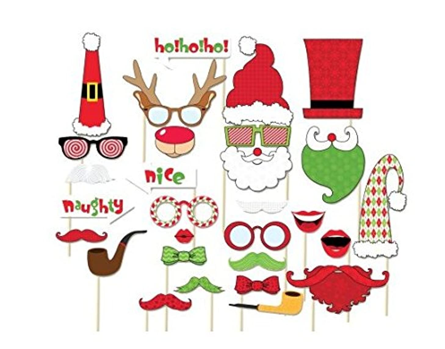 [USA-SALES] Christmas Photo Booth Props, Christmas Party Decorations, Attached to the Stick, No DIY Required, by USA SALES Seller