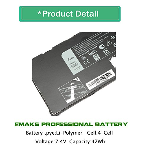 Emaks 9MGCD Battery VYP88 for Dell Venue 11 Pro 5130 5130-9356 Ultrabook/Tablet XMFY3 XRXMG 312-1453 451-BBGS 451-BBIN - 7.4V 32Wh