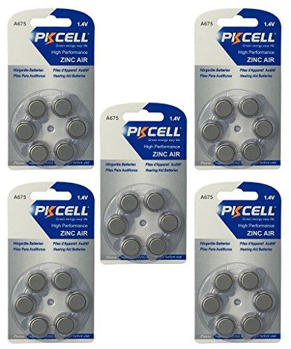 PKCELL 30 x A675 / PR44 Hörgeräte-Batterie (5 Blistercard = 30 Batterien)