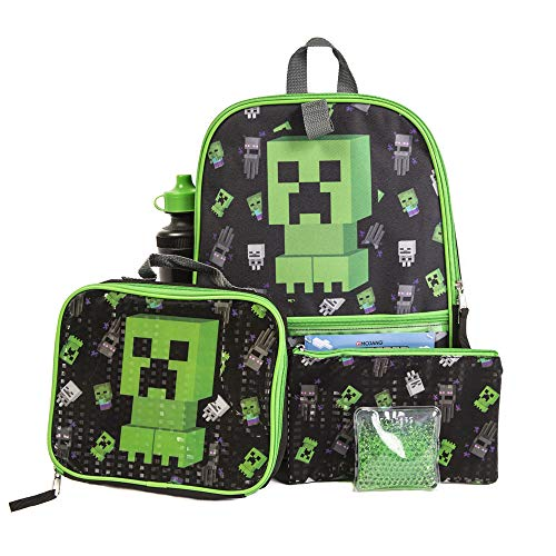 Minécraft Backpack Set with Lunch Box for Boys & Girls, 16 inch, 5 Piece Value Set