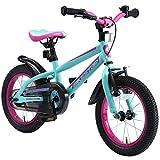 BIKESTAR Bicicleta Infantil para niños y niñas a Partir de 4 años | Bici de montaña 14 Pulgadas con Frenos | 14' Edición Mountainbike Berry Turquesa