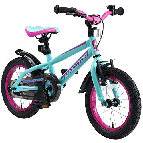 BIKESTAR Kinderfahrrad 14 Zoll für Mädchen und Jungen ab 4 Jahre | Kinderrad Urban Jungle | Fahrrad für Kinder Türkis & Berry | Risikofrei Testen