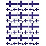 SpringPear 12x Tatuaje Temporal de la Bandera de Finlandia para Competiciones Internacionales Juegos Olímpicos Copa del Mundo Impermeable Banderas Tatuaje Etiqueta Adhesiva Fan Set (12 Piezas)
