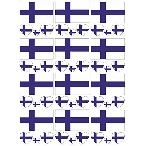 SpringPear® 12x Temporär Tattoo von Flagge Finnlands für Internationale Wettbewerbe Olympischen Spiele Weltmeisterschaft Wasserfeste Fahnen Tätowierung Flaggenaufkleber Fan Set (12 Pcs)