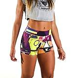 BANBROKEN Short Pantalón Corto Deportivo para Fitness Mujer, Gimnasio, Crossfit, Running, Halterofilia, Yoga, Gym etc (Universe, S)