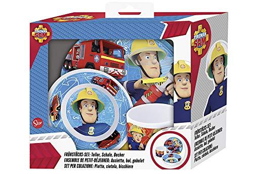 Feuerwehrmann Sam Melamin Frühstück-Set 3-teilig im Geschenkkarton mit Sichtfenster Teller Müslischale & Trinkbecher