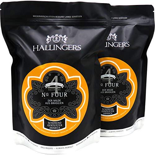 Hallingers Gourmet-Kaffee aus Brasilien, schonend langzeit-geröstet (1.000g) - No. Four, Set 2x 500g (Aromabeutel) - zu Passt immer